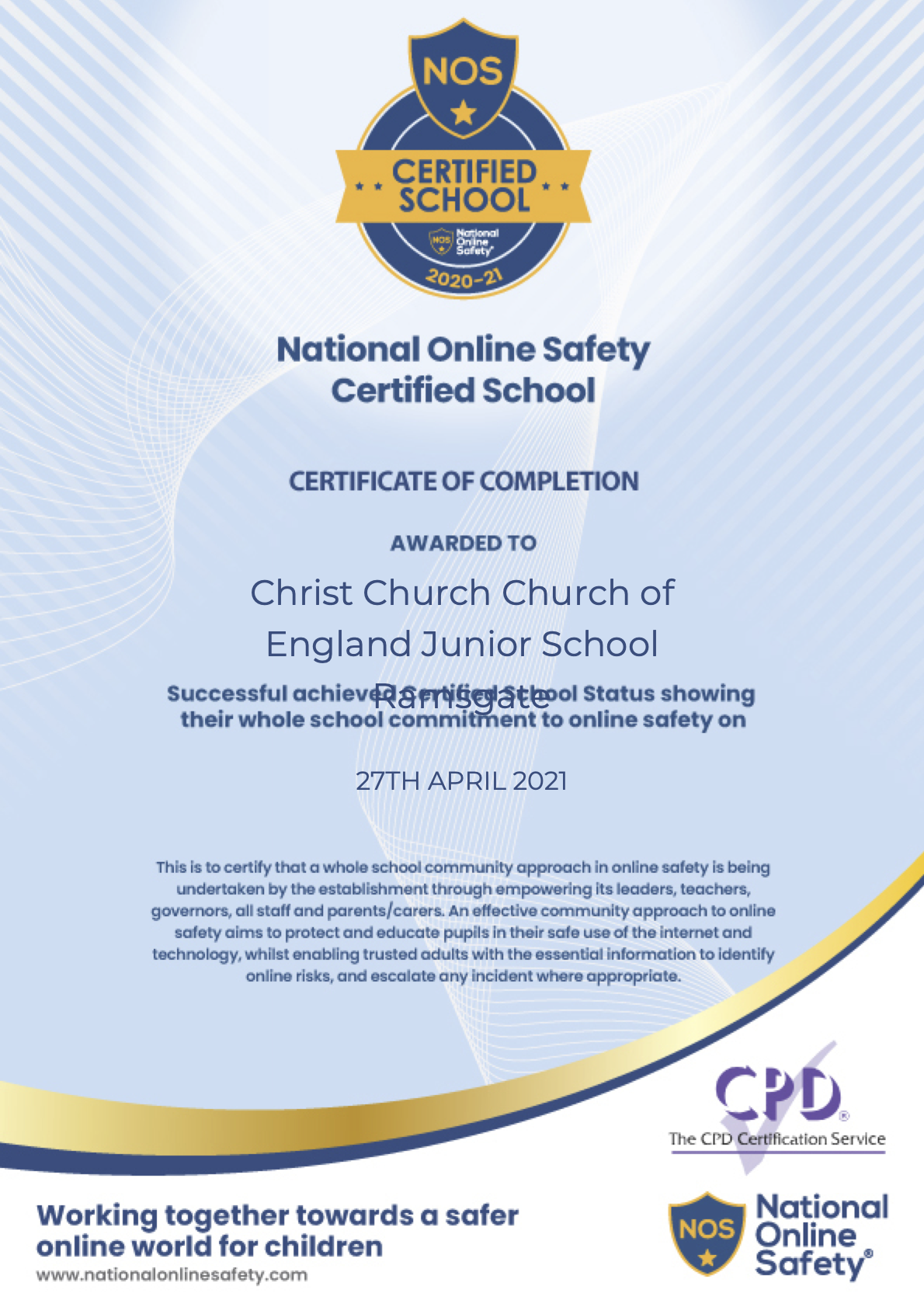 Christ Church CE Junior School is now a National Online Safety Certified School